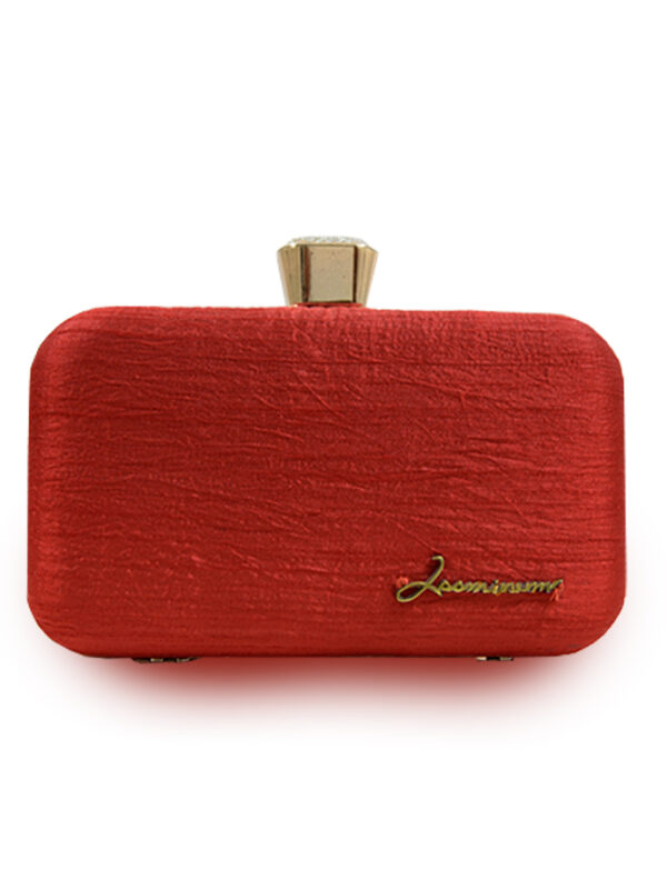 Red Embroidered Clutch