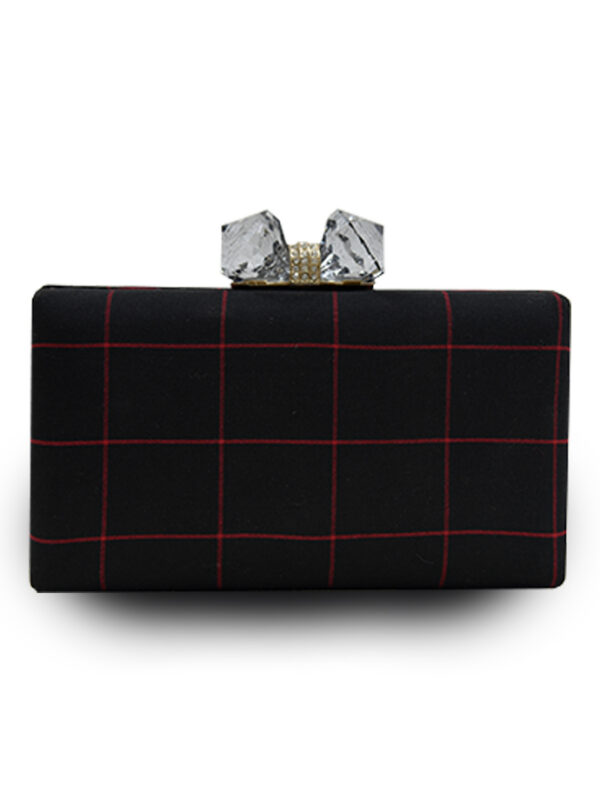 Black Plaid Clutch