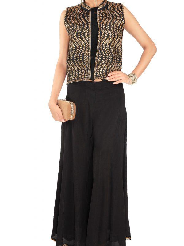 Black Embellished Jacket With Sharara