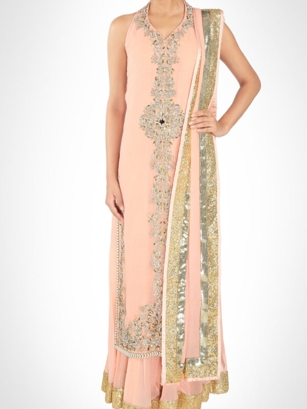 Salmon Pink Kurta With Sharara
