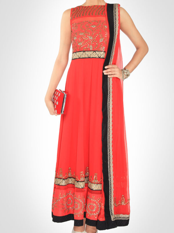 Red Gota Patti Anarkali