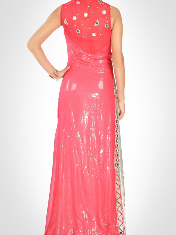 Sequinned Coral Gown
