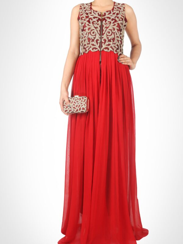 Marsala Floor Length Pleated Dress