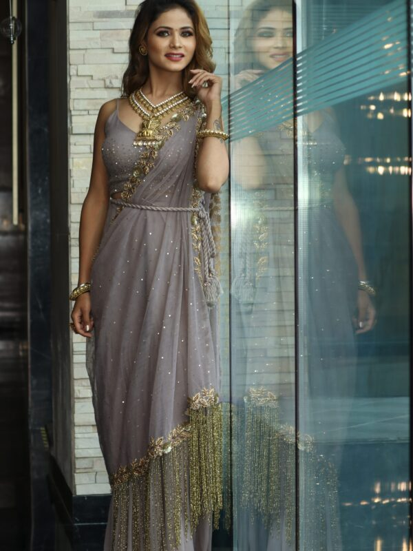 Crop Top with Gharara and Hand-embroidered Drape