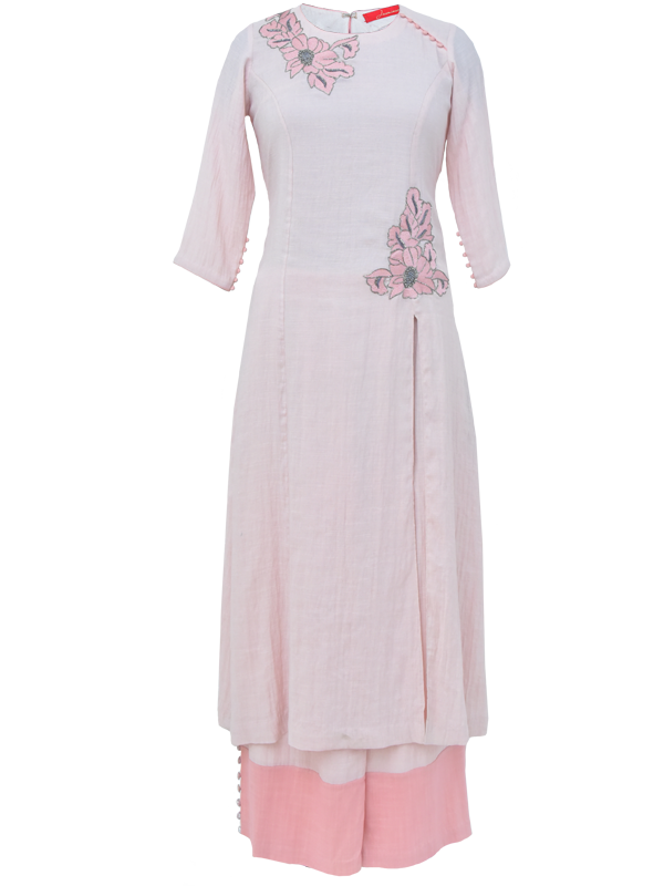 Blush Linen Kurta Set