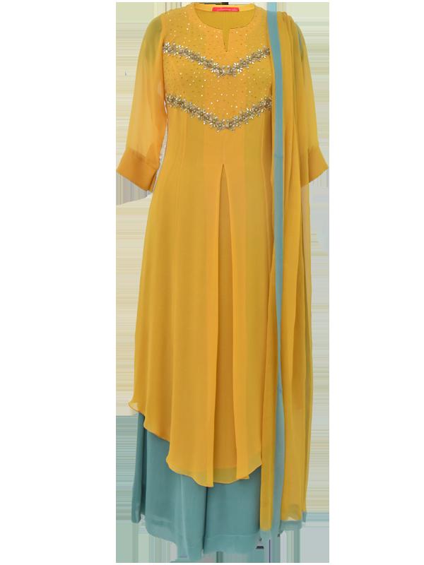 Mustard Georgette Kurta Set