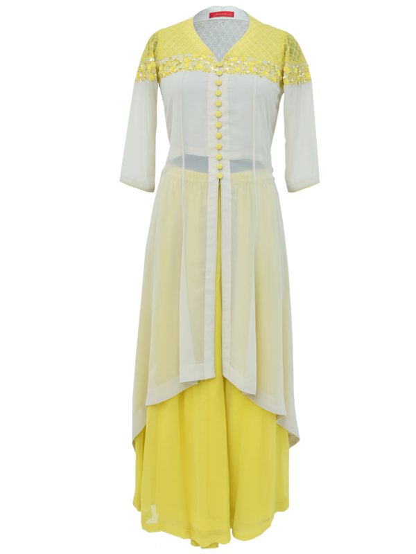 Beige Kalidar Kurta with Sharara