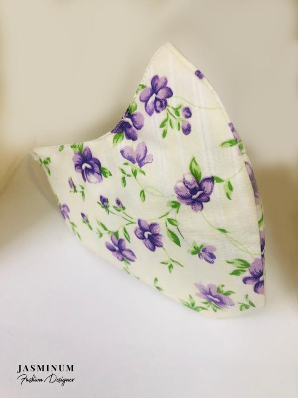 Creme Floral Printed Face Mask