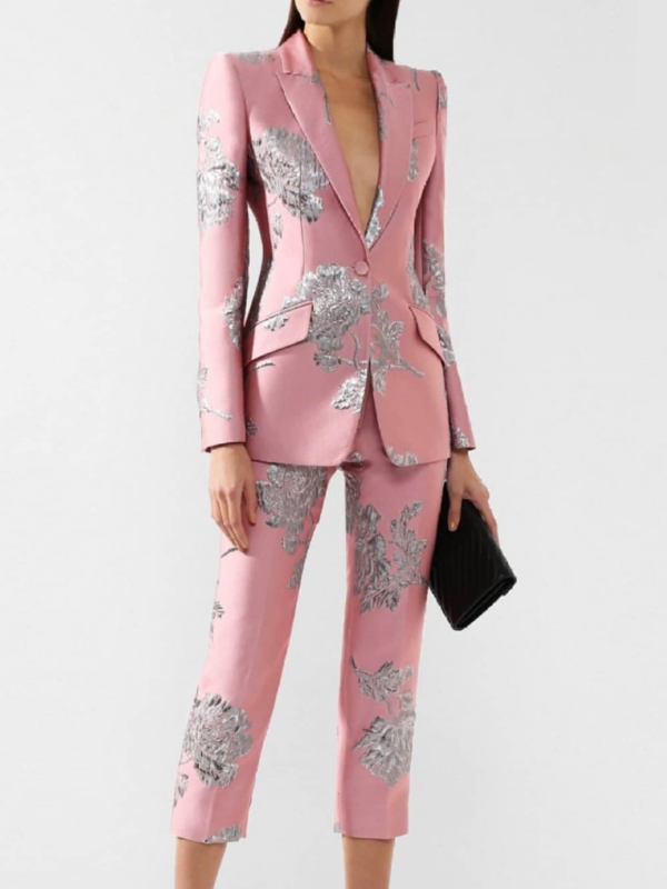 Pink Brocade Co-ord Set