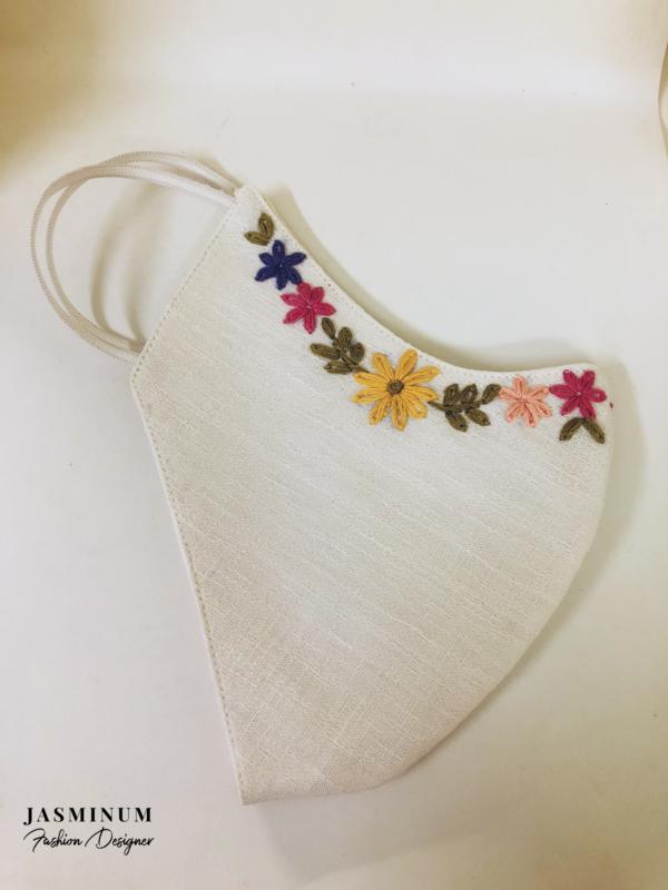 White Embroidered Border Linen Face Mask