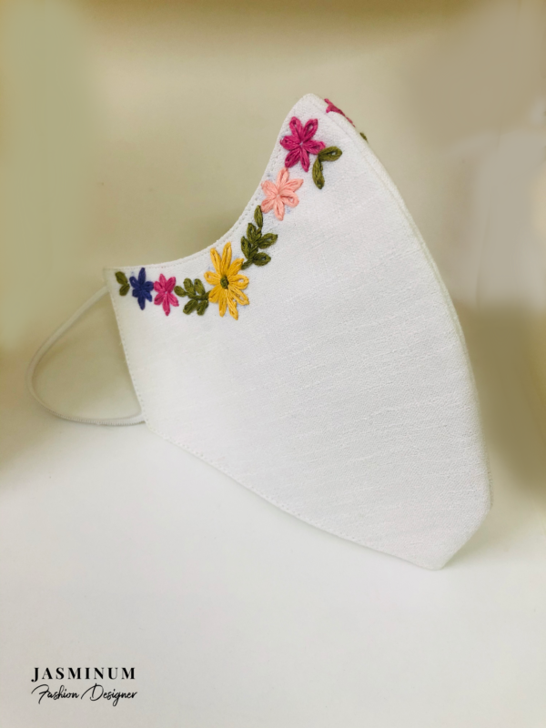 White Embroidered Border Linen Face Mask
