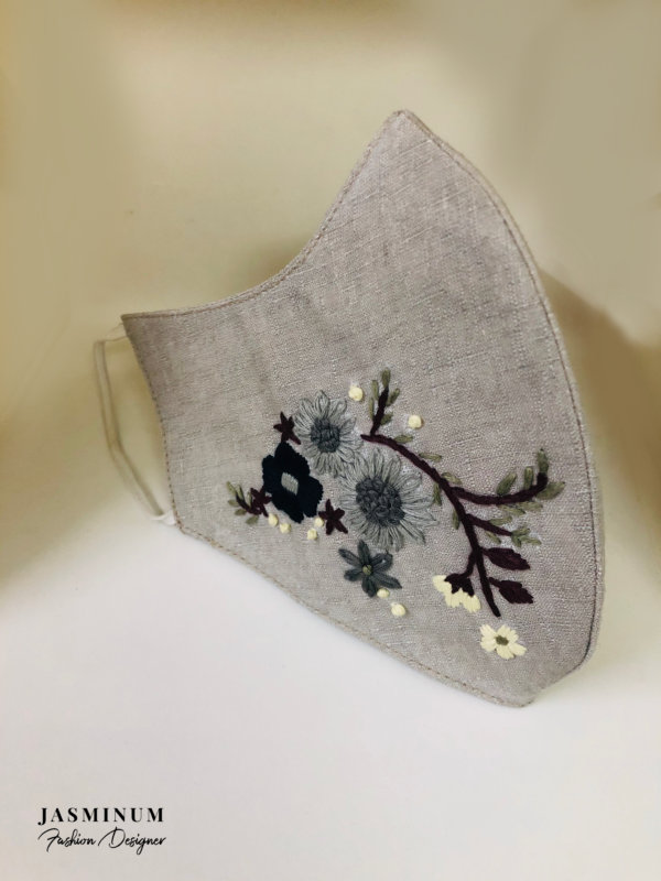 Grey Embroidered Motif Linen Face Mask