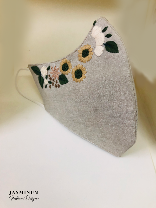 Grey Embroidered Border Linen Face Mask