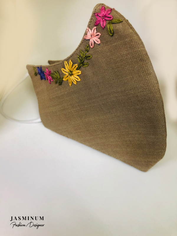 Beige Embroidered Border Linen Face Mask