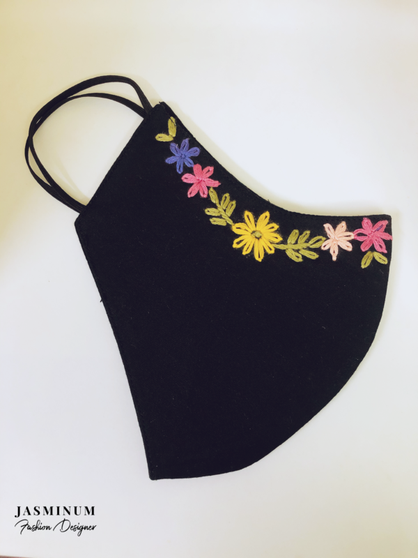 Black Embroidered Border Cotton Face Mask