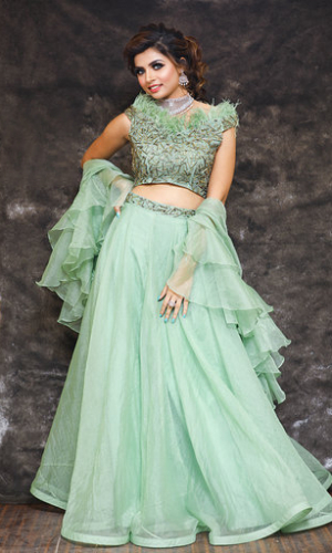 Olive Green Crop Top And Organza Skirt