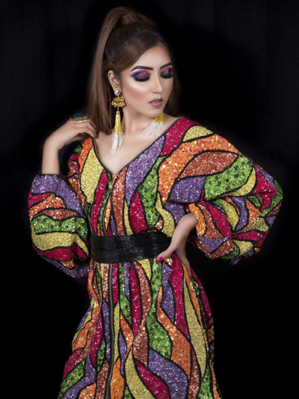 Multicoloured Sequins Embroidered Dress With Belt