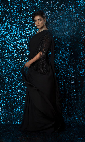 Black Lycra Maxi With Glass Beads Embroidery