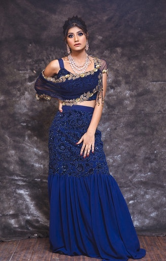 Navi Blue Applique' Embroidery Crop Top And Skirt With Drape