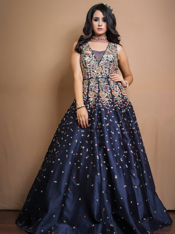 Navi Blue Gown With Multicoloured Sequins Embroidery