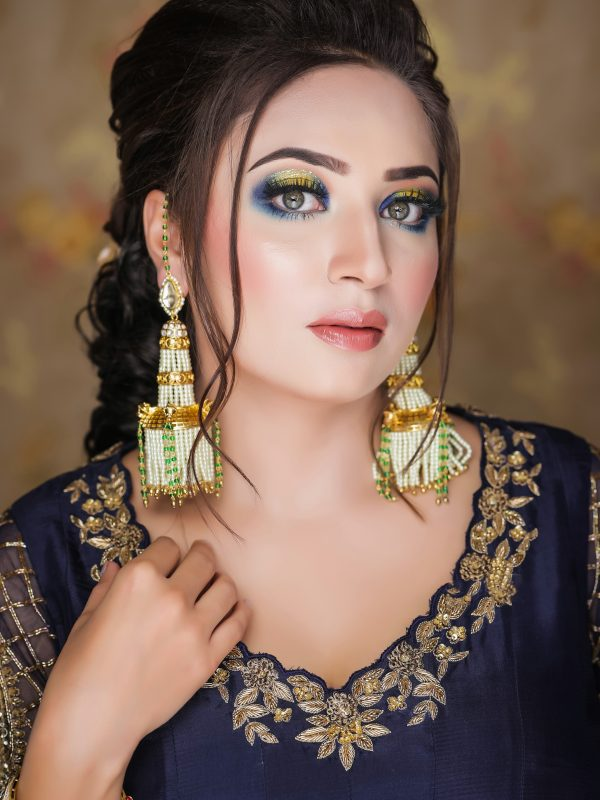 Navy Blue Silk Anarkali With Sharara