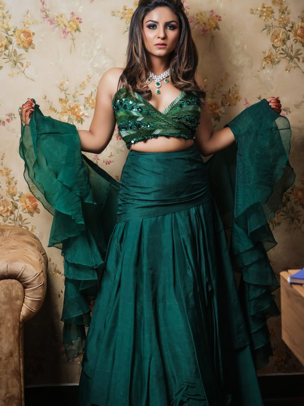 Emerald Green Wrap Around Top With Silk Skirt