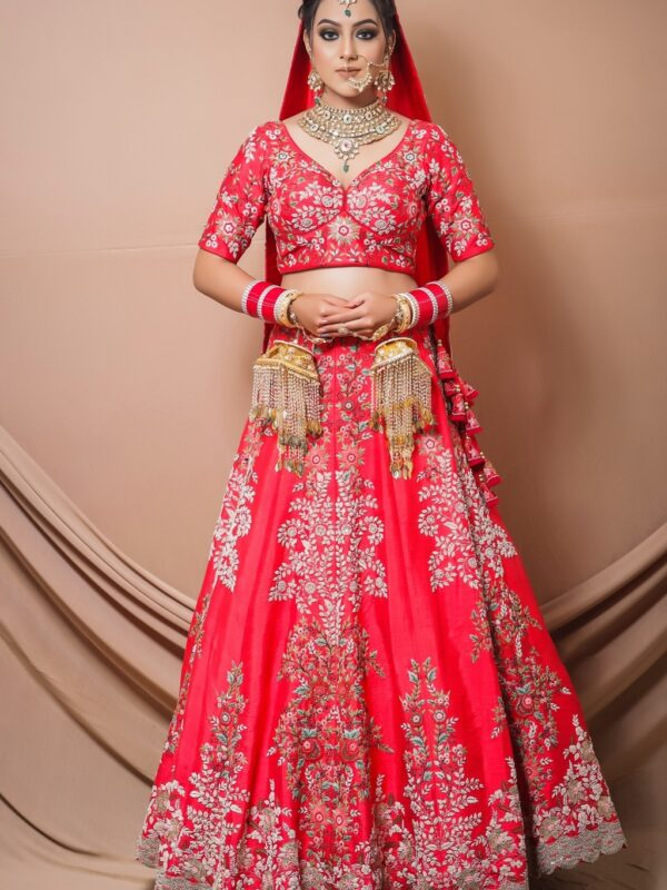 Coral Red Lehnga Choli With Multicolour Thread Embroidery