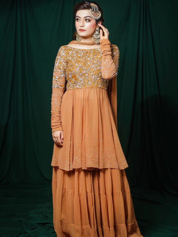 Golden Georgette Short Anarkali With Sharara