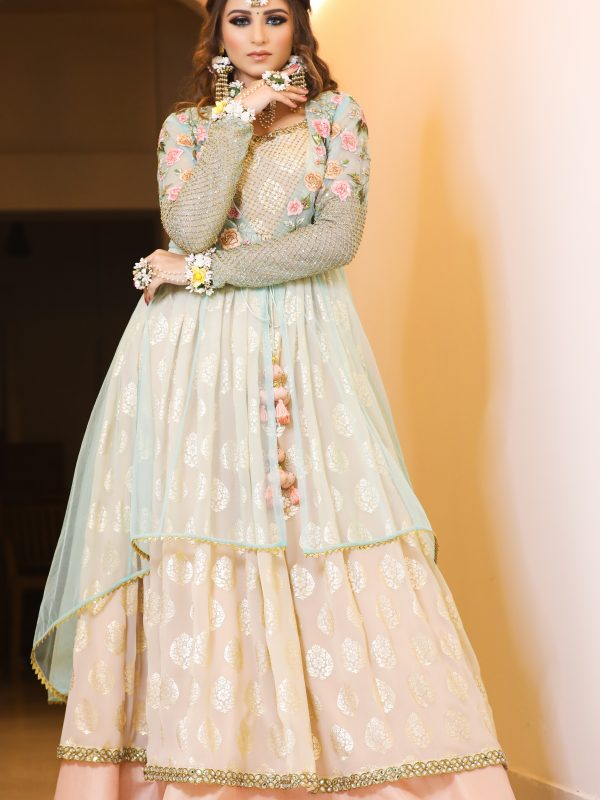 Ferozi Tulle Jacket With Foil Anarkali And Silk Lehnga