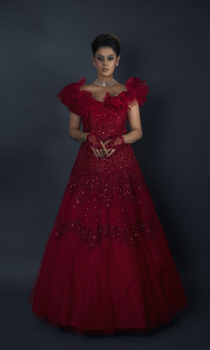 Red Ruffled Neck Gown