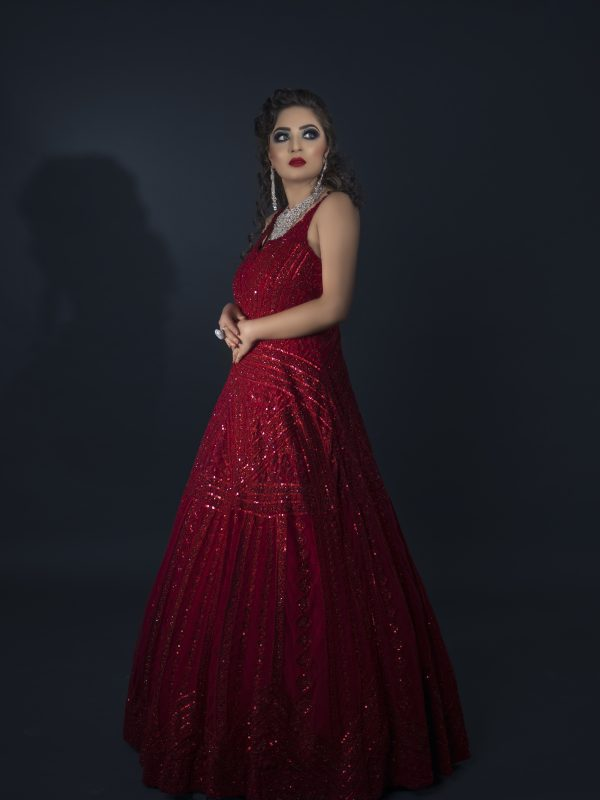 Red Gown With Tone On Tone Embroidery