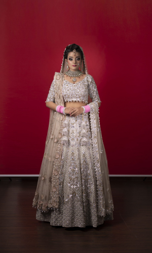 Ivory Lehnga Choli With Sequins And Pearl Embroidery