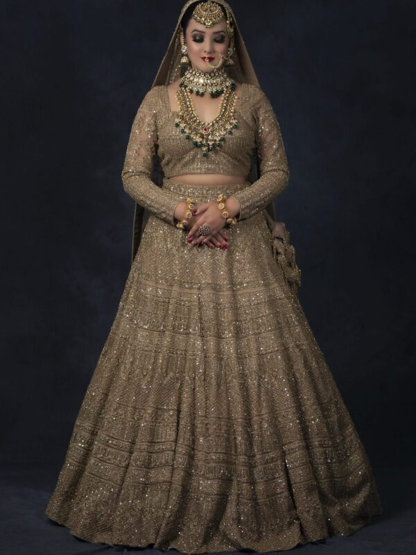 Golden Zardozi And Sequins Embroidery Lehnga Choli