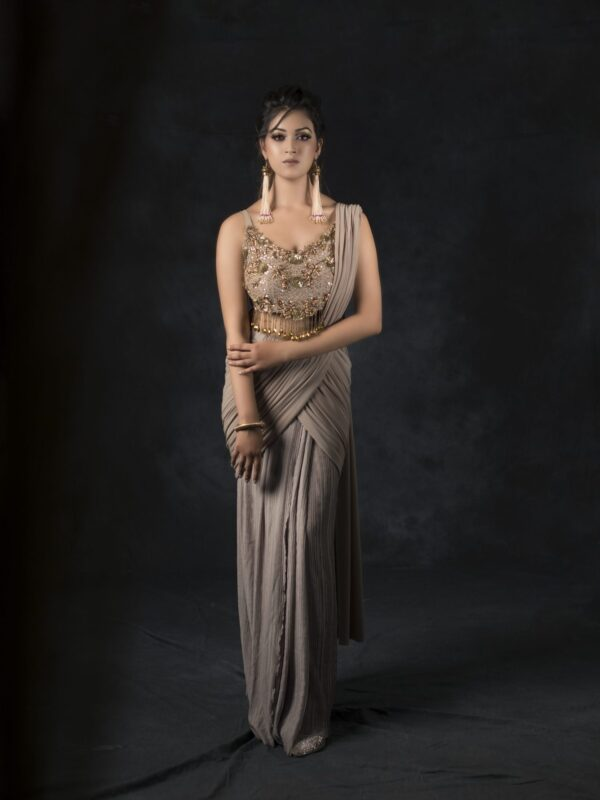 Grey Draped Saree With Zardozi Cut Work Blouse