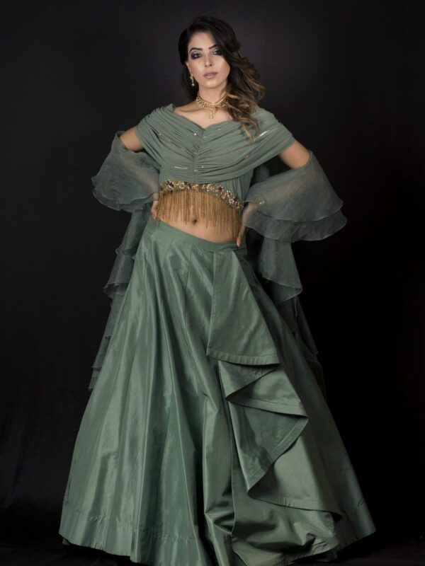 Draped Crop Top With Silk Skirt