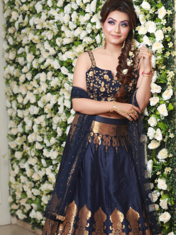 Navi Blue Brocade Lehnga Choli