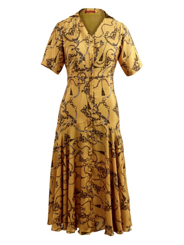 Mustard Printed Midi Dress