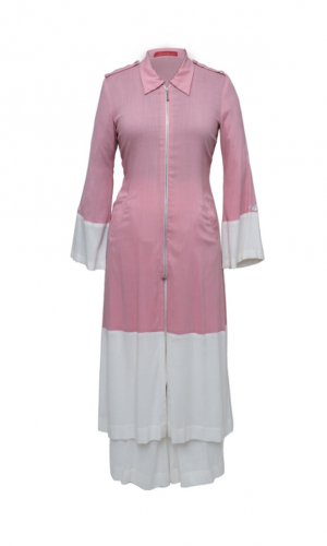 Pink White Colour Block Kurta Set