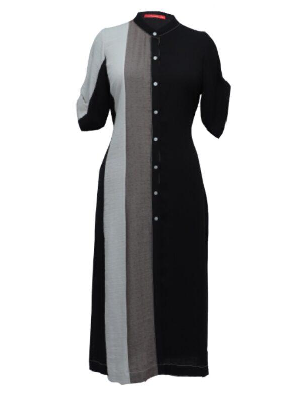Black Colour Block Linen Shirt Kurta
