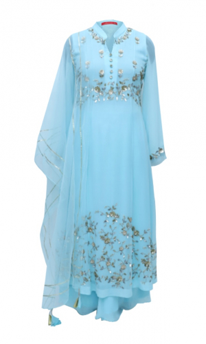 Sky Blue Kalidar Georgette Suit