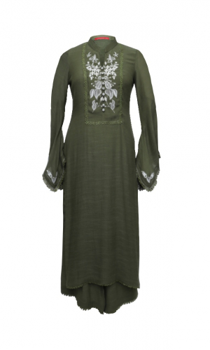 Olive Green Linen Kurta Set