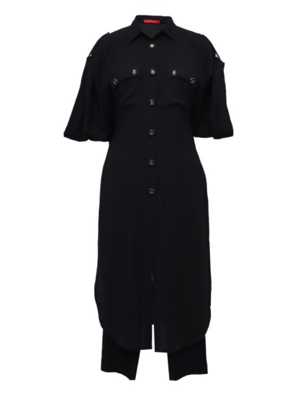 Black Linen Shirt Dress With Embroidered Pants