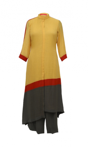 Yellow Colour Block Chiffon Kurta Set