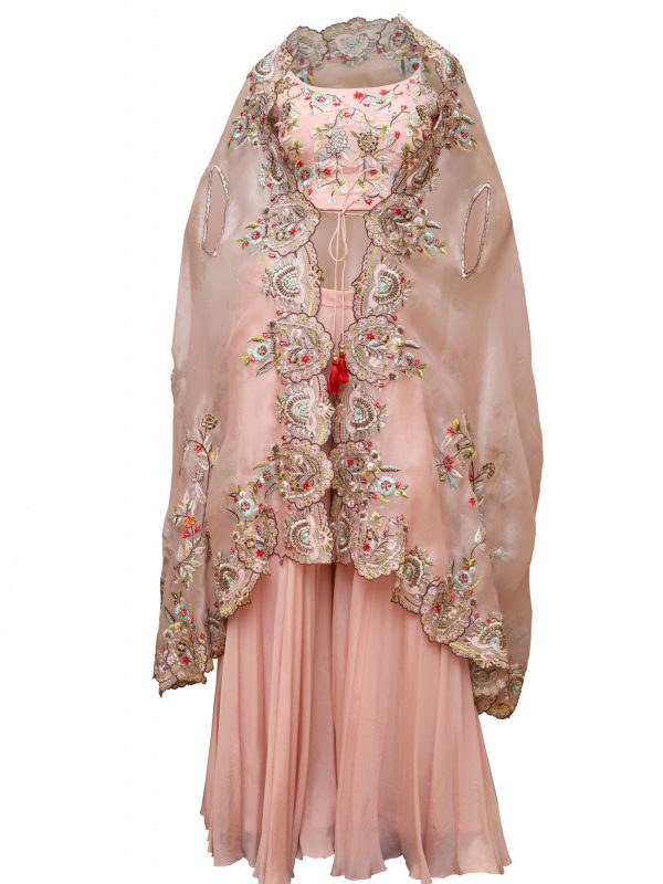 Blush Crop Top With Sharara And Cape