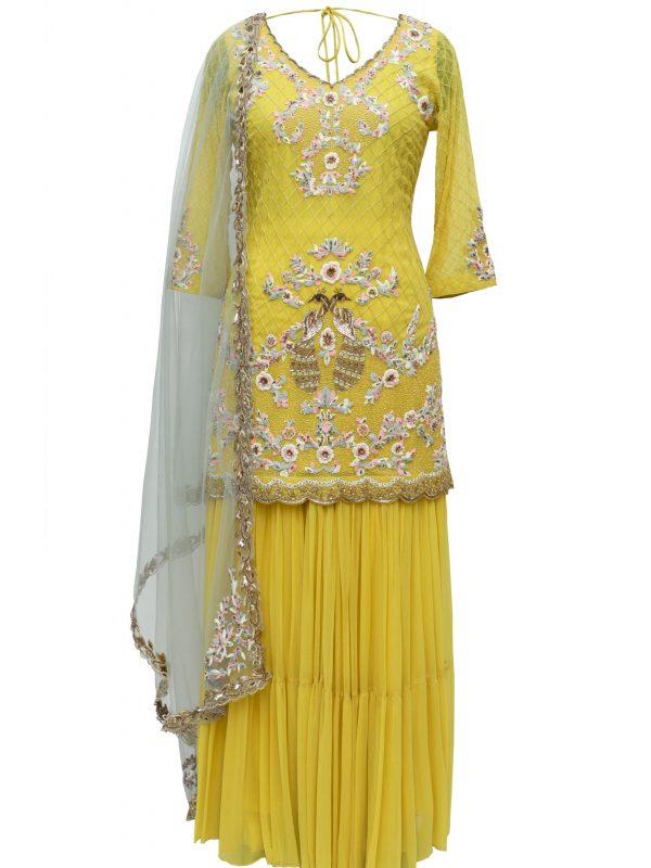 Lime Yellow Sharara Suit