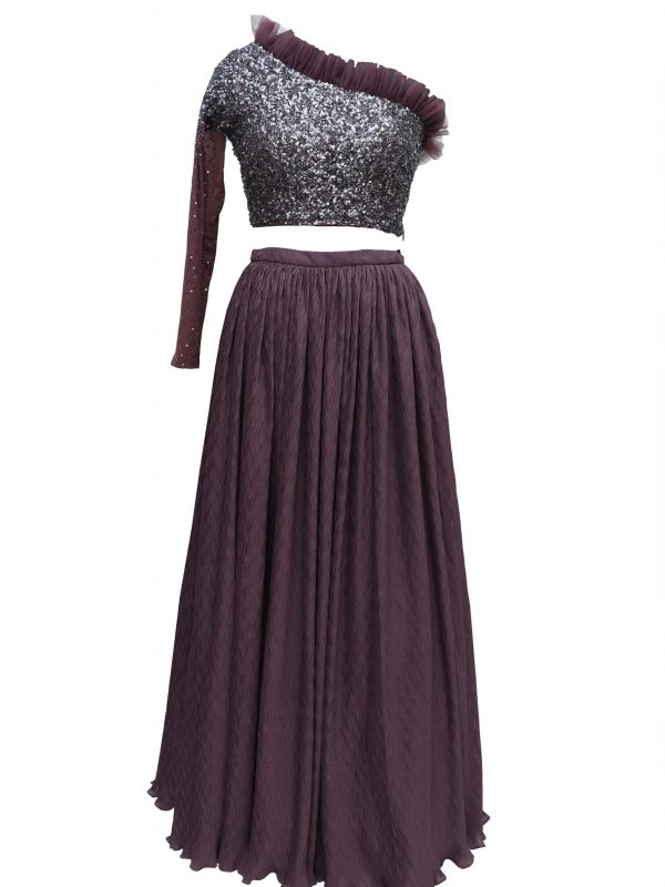 Wine Crop Top With Sequins Embroidery And Skirt