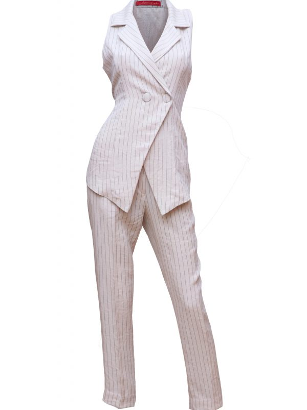 Linen Pinstriped Co-ord Set