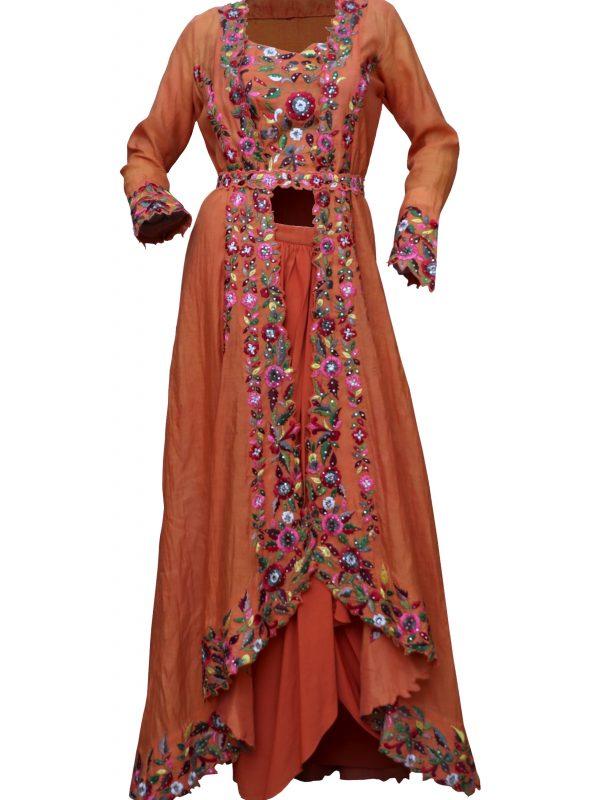 Orange Long Jacket With Crop Top & Lungi