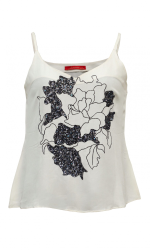 White Abstract Embroidery Camisole
