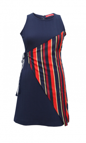 Navy Tunic With Striped Overlap